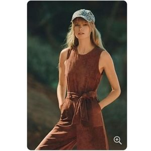 Anthropologie Brown Velvet Jumpsuit, LP